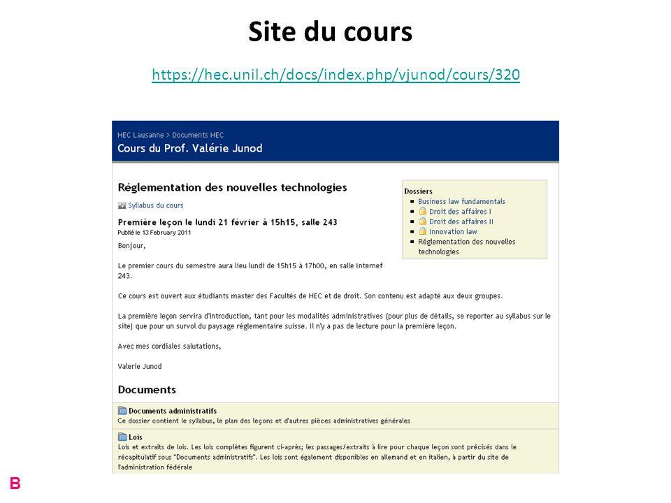 Site du cours https://hec.unil.ch/docs/index.php/vjunod/cours/320 B