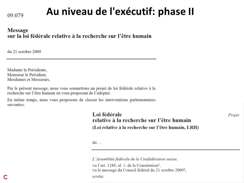 Au niveau de l exécutif: phase II C