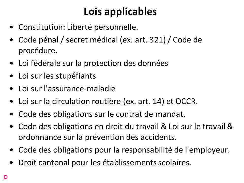 Lois applicables Constitution: Liberté personnelle.