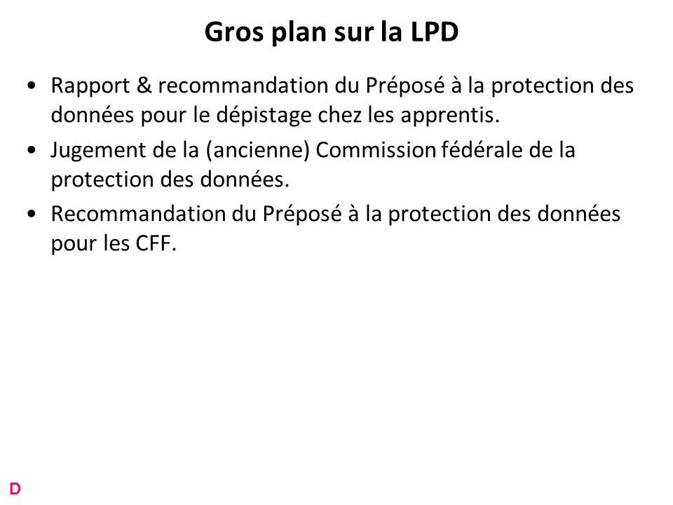 Gros plan sur la LPD Rapport & recommandation du Préposé à la protection des données pour le dépistage chez les apprentis.