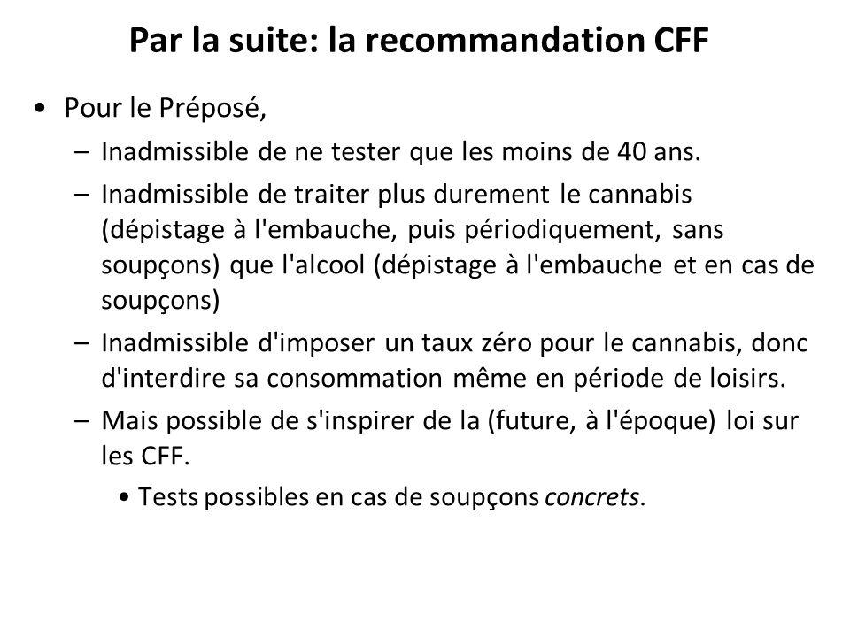 Par la suite: la recommandation CFF Pour le Préposé, –Inadmissible de ne tester que les moins de 40 ans.