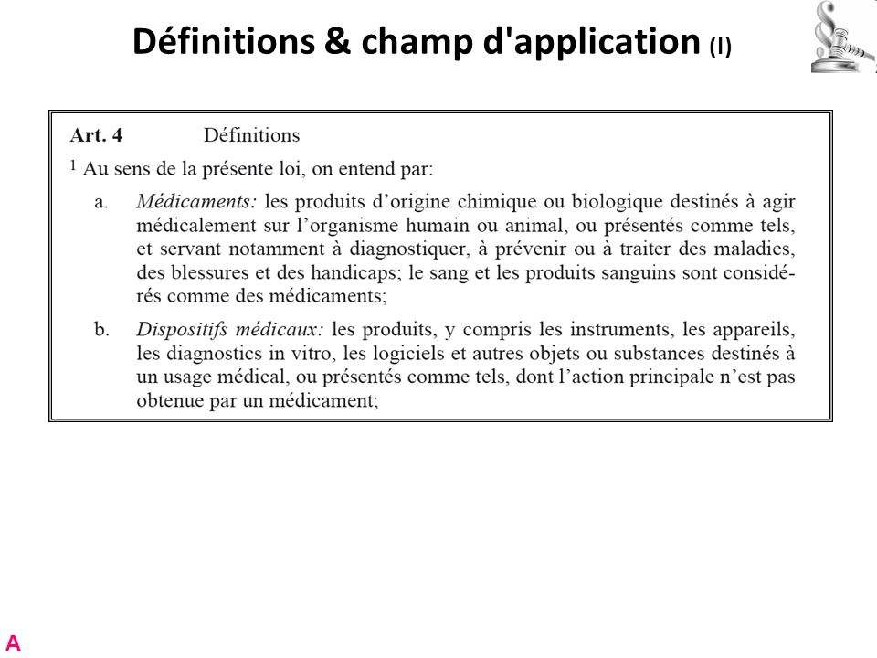 Définitions & champ d application (I) A