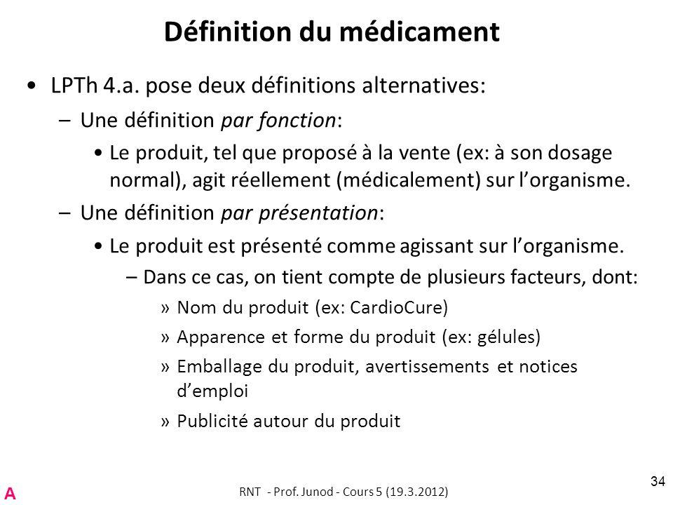 Définition du médicament LPTh 4.a. pose deux définitions alternatives: –Une définition par fonction: Le produit, tel que proposé à la vente (ex: à son