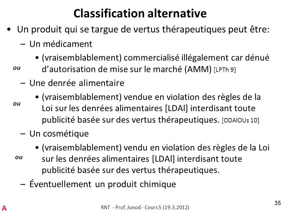 Classification alternative Un produit qui se targue de vertus thérapeutiques peut être: –Un médicament (vraisemblablement) commercialisé illégalement