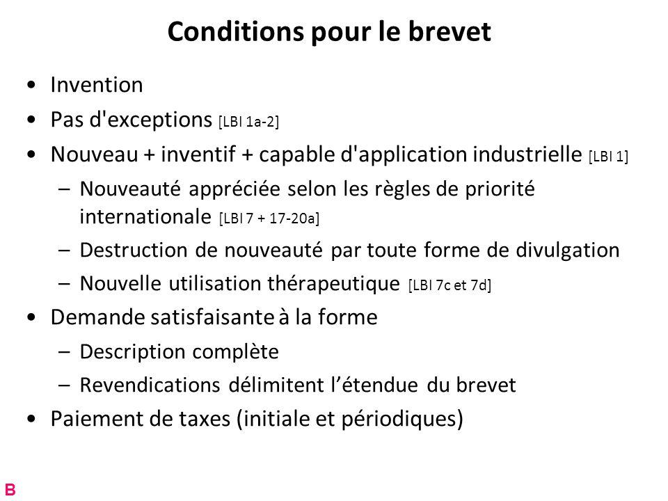 Conditions pour le brevet Invention Pas d'exceptions [LBI 1a-2] Nouveau + inventif + capable d'application industrielle [LBI 1] –Nouveauté appréciée s