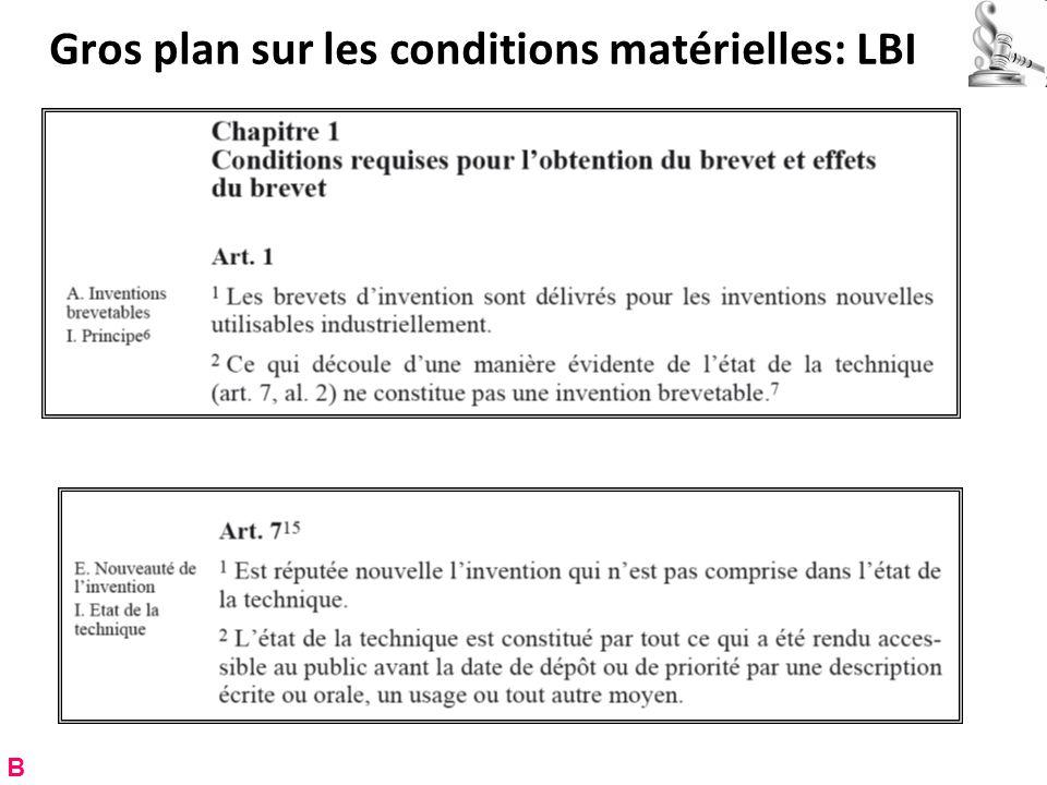 Gros plan sur les conditions matérielles: LBI B