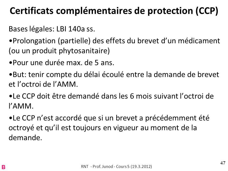 Certificats complémentaires de protection (CCP) Bases légales: LBI 140a ss. Prolongation (partielle) des effets du brevet dun médicament (ou un produi