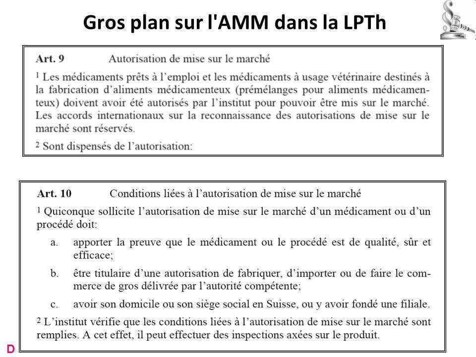 Gros plan sur l'AMM dans la LPTh D