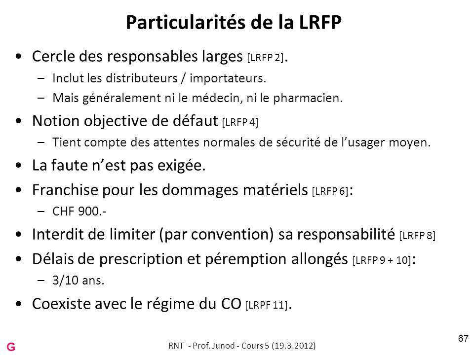 Particularités de la LRFP Cercle des responsables larges [LRFP 2]. –Inclut les distributeurs / importateurs. –Mais généralement ni le médecin, ni le p