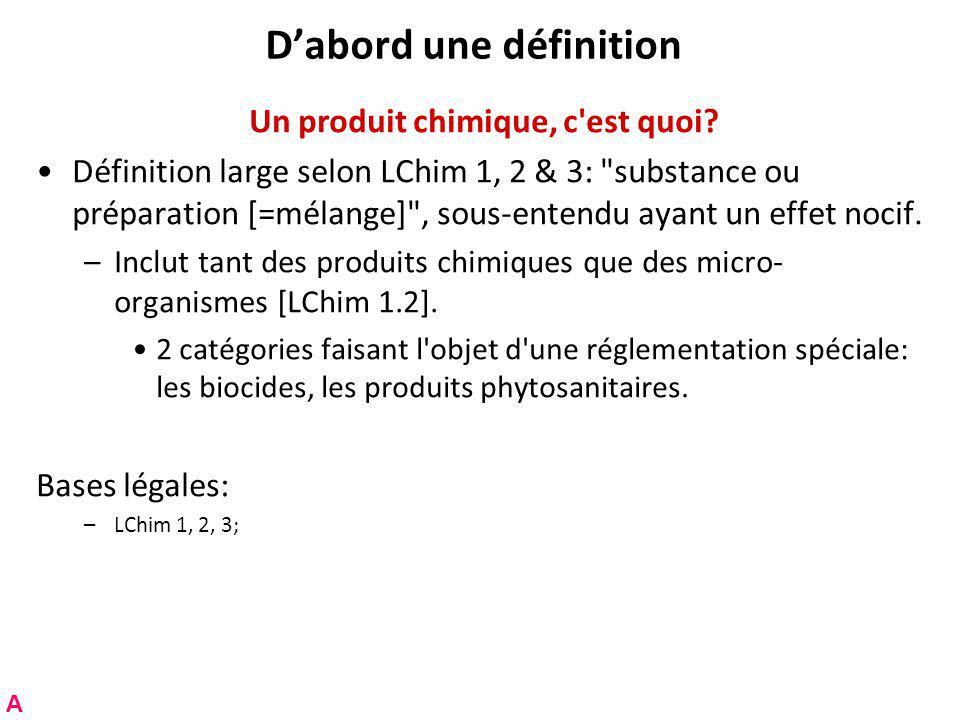 Dabord une définition Un produit chimique, c est quoi.