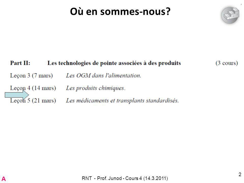 RNT - Prof. Junod - Cours 4 (14.3.2011) 2 Où en sommes-nous? A
