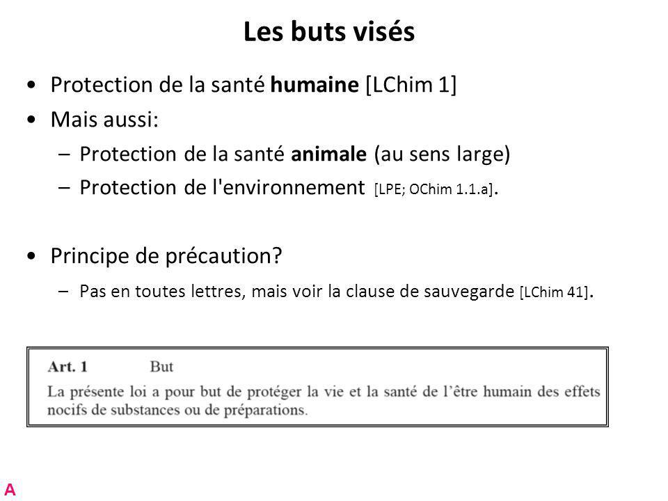 Les buts visés Protection de la santé humaine [LChim 1] Mais aussi: –Protection de la santé animale (au sens large) –Protection de l environnement [LPE; OChim 1.1.a].