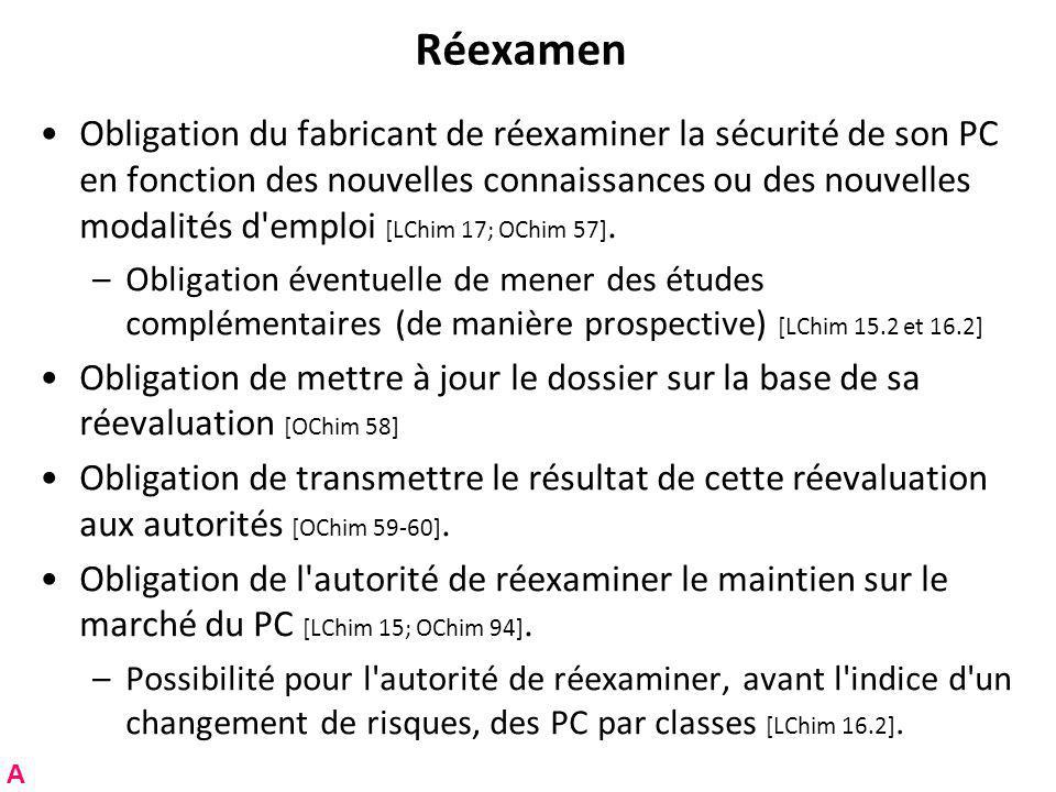 Réexamen Obligation du fabricant de réexaminer la sécurité de son PC en fonction des nouvelles connaissances ou des nouvelles modalités d emploi [LChim 17; OChim 57].