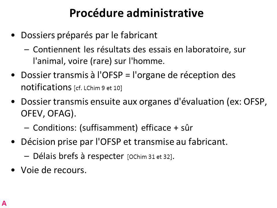 Procédure administrative Dossiers préparés par le fabricant –Contiennent les résultats des essais en laboratoire, sur l animal, voire (rare) sur l homme.
