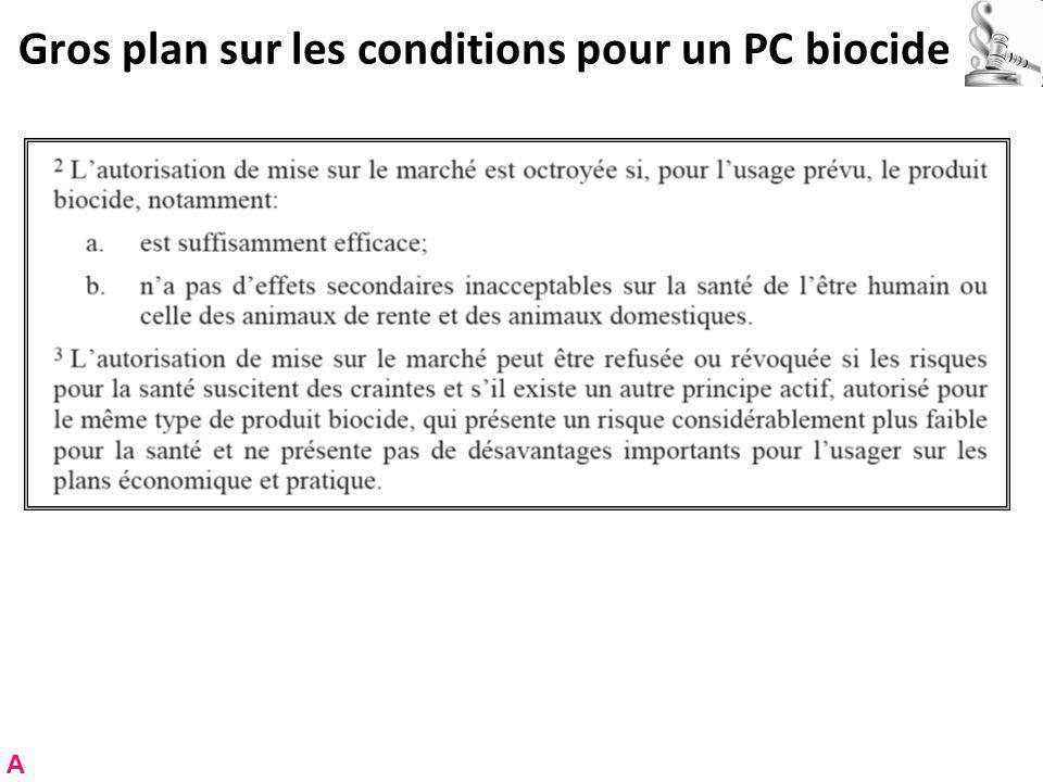 Gros plan sur les conditions pour un PC biocide A