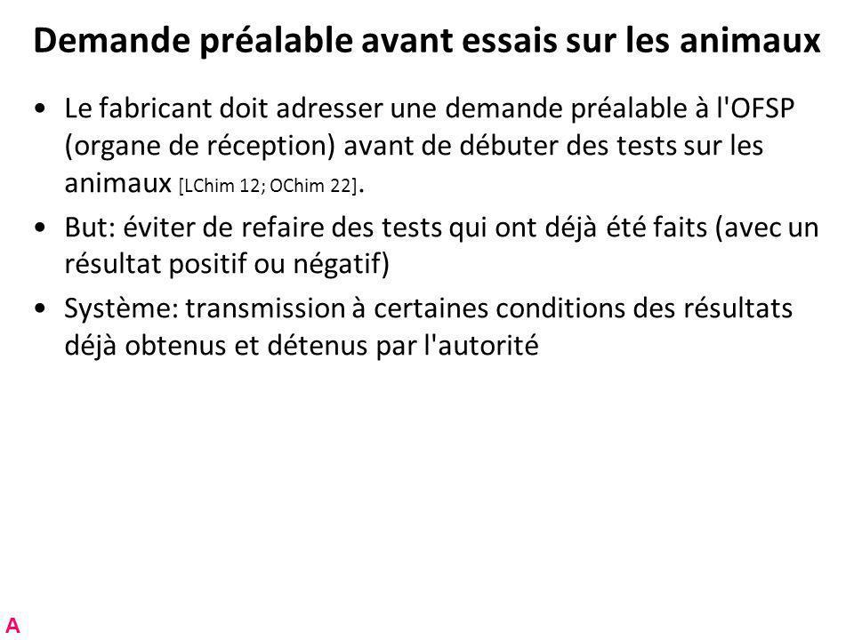 Demande préalable avant essais sur les animaux Le fabricant doit adresser une demande préalable à l OFSP (organe de réception) avant de débuter des tests sur les animaux [LChim 12; OChim 22].