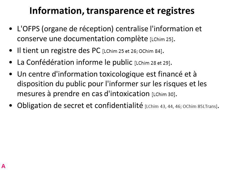 Information, transparence et registres L OFPS (organe de réception) centralise l information et conserve une documentation complète [LChim 25].