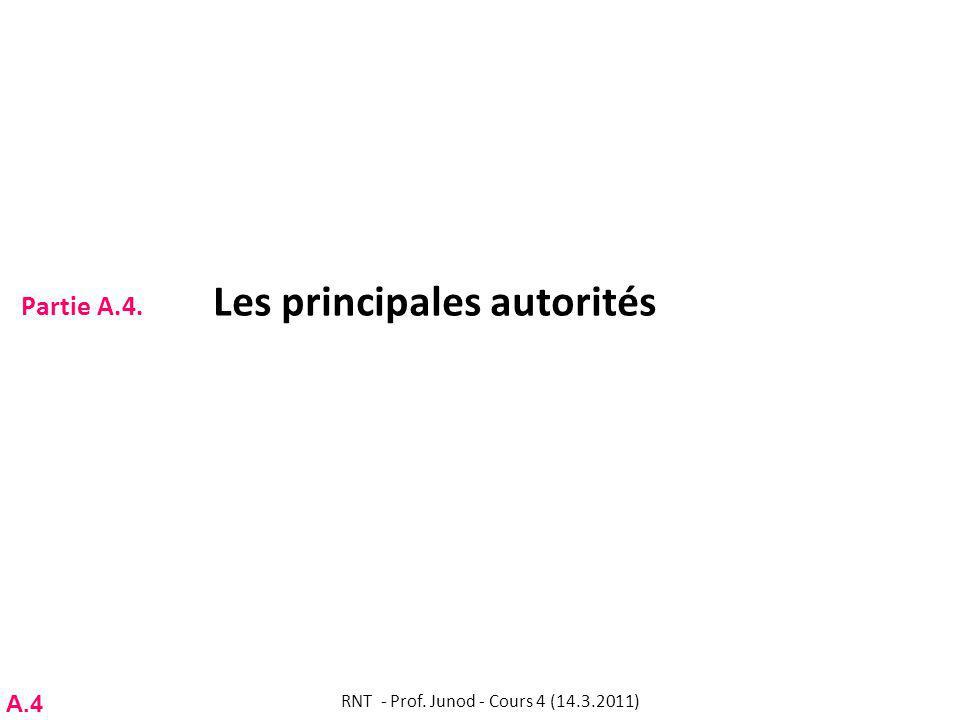 Partie A.4. Les principales autorités RNT - Prof. Junod - Cours 4 (14.3.2011) A.4