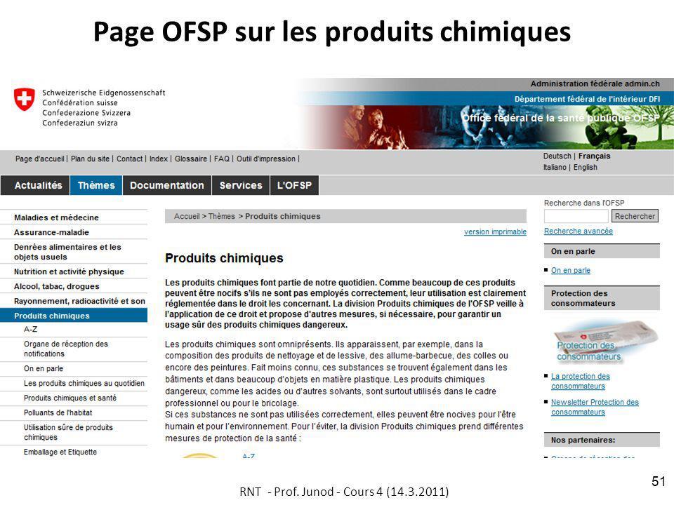 Page OFSP sur les produits chimiques RNT - Prof. Junod - Cours 4 (14.3.2011) 51