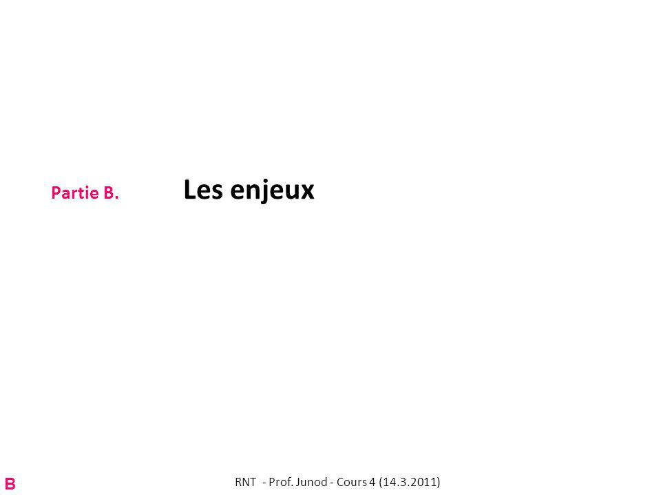 Partie B. Les enjeux B RNT - Prof. Junod - Cours 4 (14.3.2011)