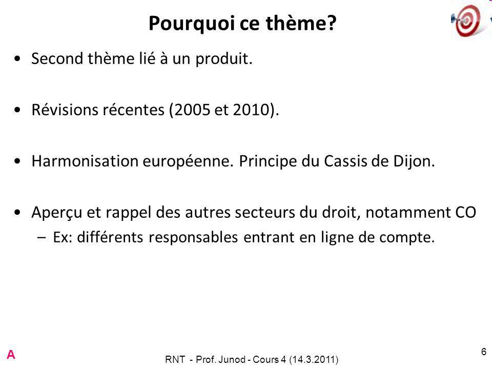 RNT - Prof.Junod - Cours 4 (14.3.2011) 6 Pourquoi ce thème.