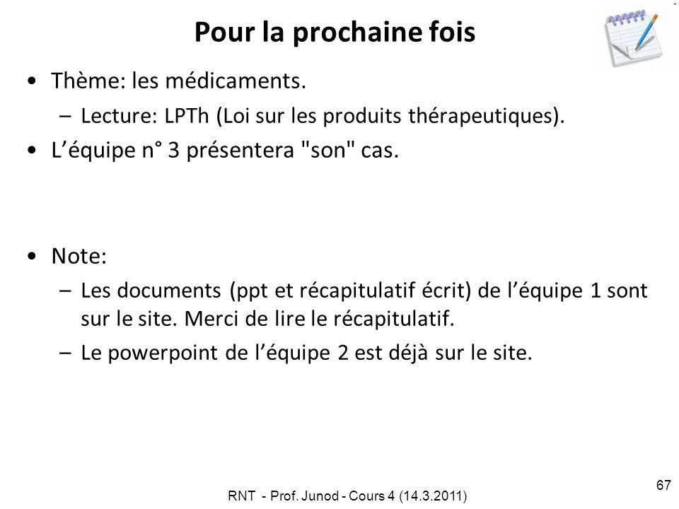 RNT - Prof.Junod - Cours 4 (14.3.2011) 67 Pour la prochaine fois Thème: les médicaments.
