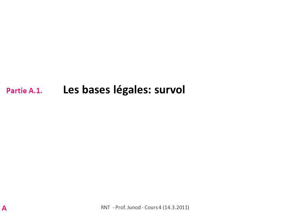 Partie A.1. Les bases légales: survol RNT - Prof. Junod - Cours 4 (14.3.2011) A
