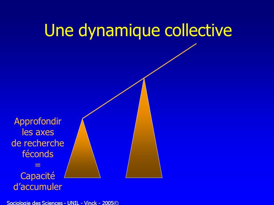 Sociologie des Sciences - UNIL - Vinck - 2005© Une dynamique collective Approfondir les axes de recherche féconds = Capacité daccumuler