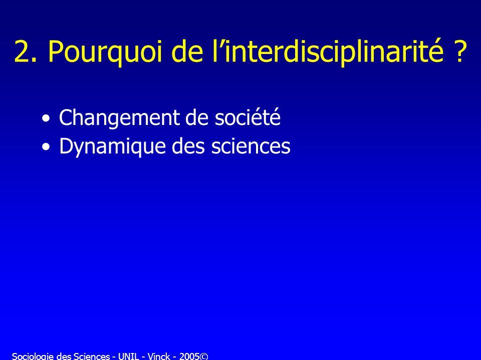 Sociologie des Sciences - UNIL - Vinck - 2005© 2. Pourquoi de linterdisciplinarité ? Changement de société Dynamique des sciences
