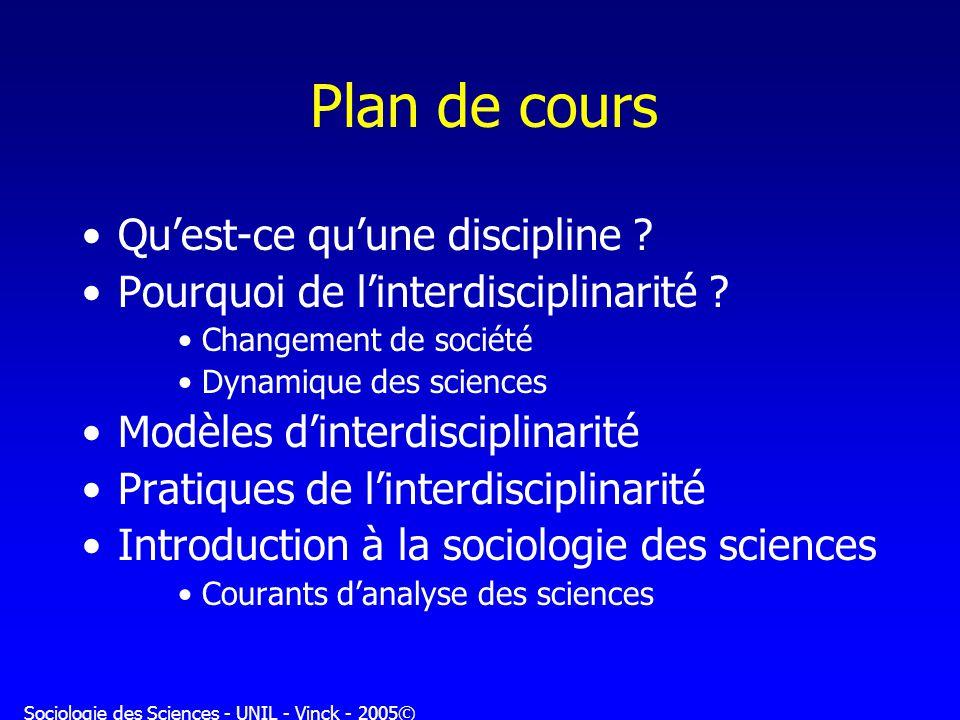 Sociologie des Sciences - UNIL - Vinck - 2005© Plan de cours Quest-ce quune discipline ? Pourquoi de linterdisciplinarité ? Changement de société Dyna