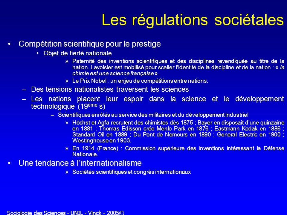 Sociologie des Sciences - UNIL - Vinck - 2005© Les régulations sociétales Compétition scientifique pour le prestige Objet de fierté nationale »Paterni