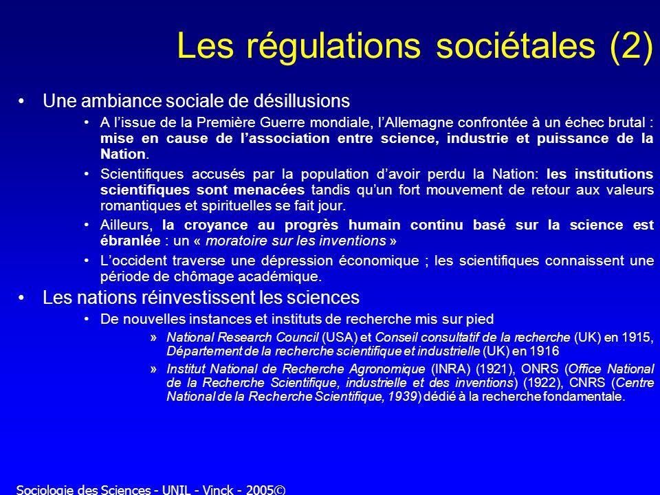 Sociologie des Sciences - UNIL - Vinck - 2005© Les régulations sociétales (2) Une ambiance sociale de désillusions A lissue de la Première Guerre mond