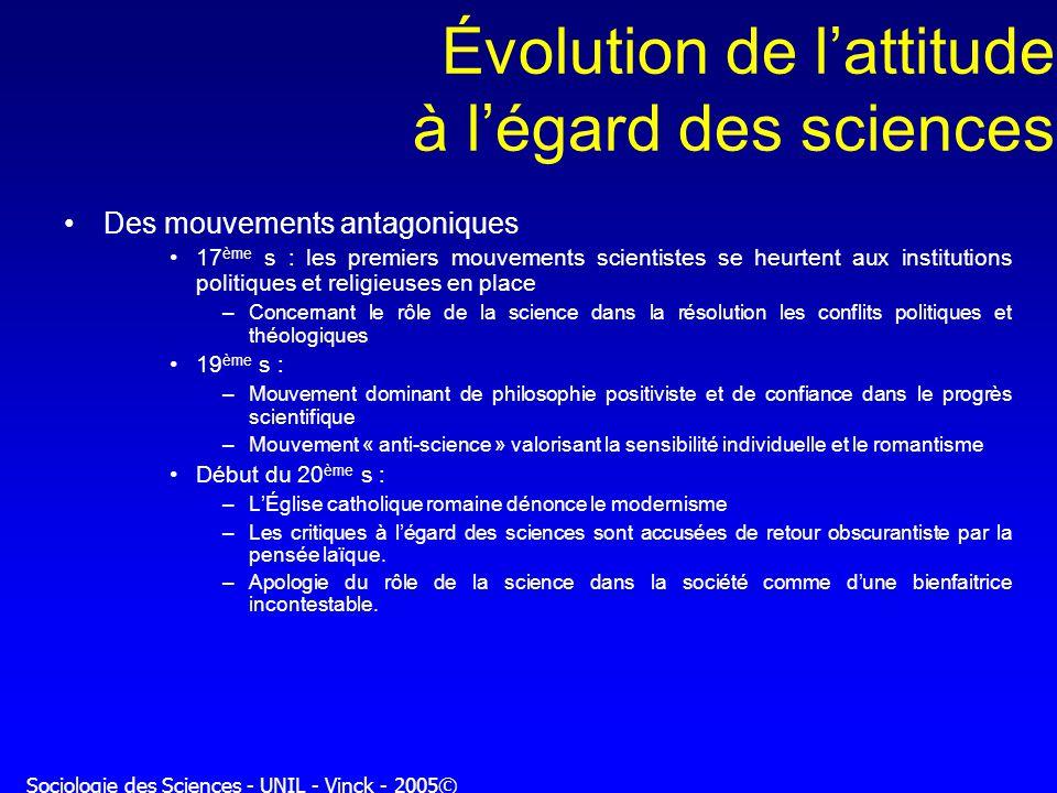 Sociologie des Sciences - UNIL - Vinck - 2005© Évolution de lattitude à légard des sciences Des mouvements antagoniques 17 ème s : les premiers mouvem
