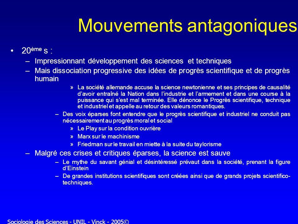Sociologie des Sciences - UNIL - Vinck - 2005© Mouvements antagoniques 20 ème s : –Impressionnant développement des sciences et techniques –Mais disso