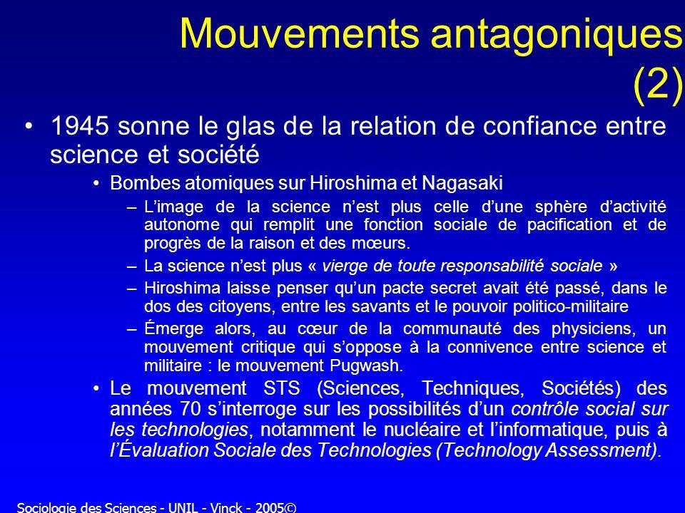 Sociologie des Sciences - UNIL - Vinck - 2005© Mouvements antagoniques (2) 1945 sonne le glas de la relation de confiance entre science et société Bom