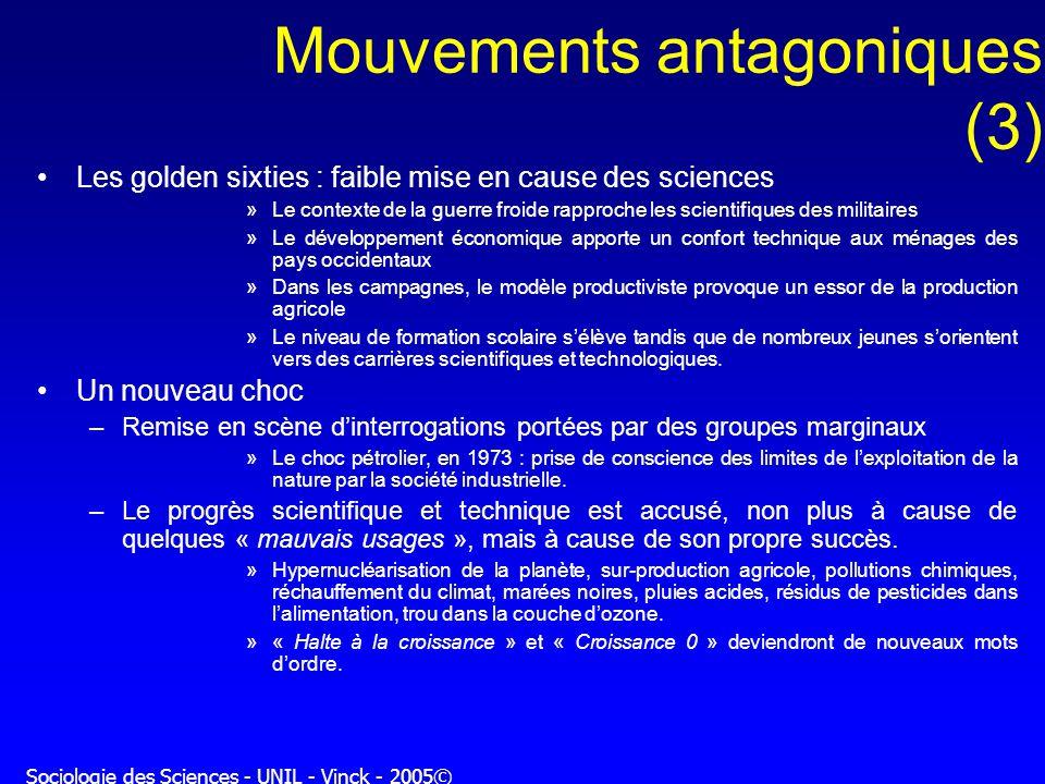 Sociologie des Sciences - UNIL - Vinck - 2005© Mouvements antagoniques (3) Les golden sixties : faible mise en cause des sciences »Le contexte de la g