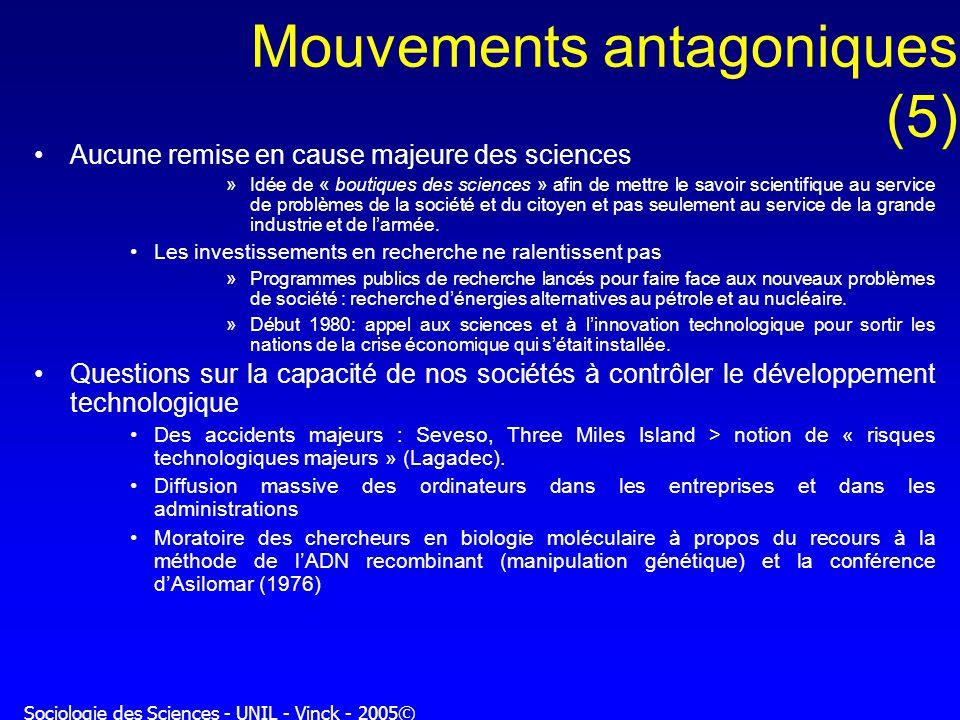 Sociologie des Sciences - UNIL - Vinck - 2005© Mouvements antagoniques (5) Aucune remise en cause majeure des sciences »Idée de « boutiques des scienc