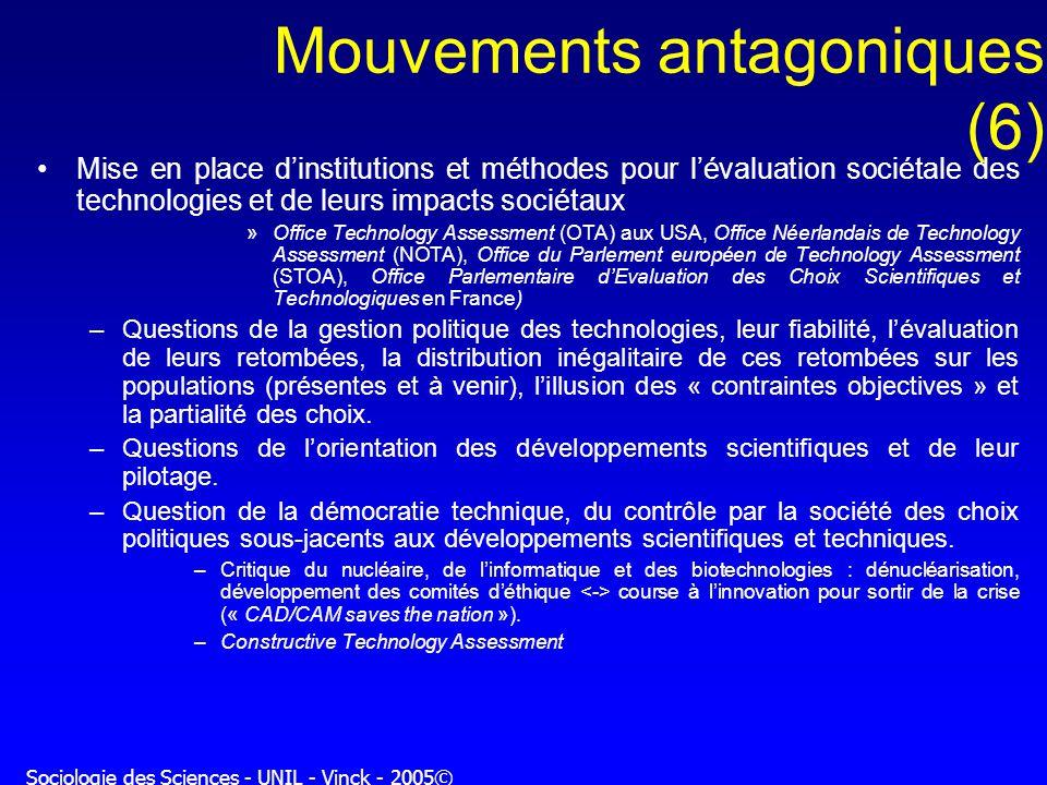 Sociologie des Sciences - UNIL - Vinck - 2005© Mouvements antagoniques (6) Mise en place dinstitutions et méthodes pour lévaluation sociétale des tech