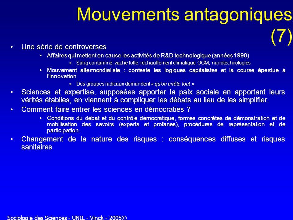 Sociologie des Sciences - UNIL - Vinck - 2005© Mouvements antagoniques (7) Une série de controverses Affaires qui mettent en cause les activités de R&