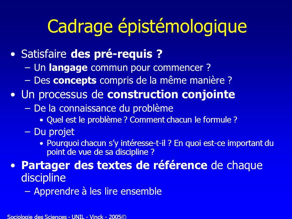 Sociologie des Sciences - UNIL - Vinck - 2005© Cadrage épistémologique Satisfaire des pré-requis ? –Un langage commun pour commencer ? –Des concepts c