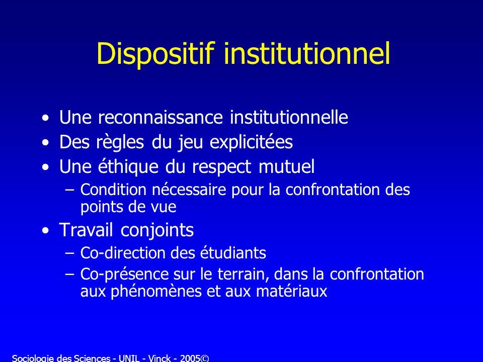 Sociologie des Sciences - UNIL - Vinck - 2005© Dispositif institutionnel Une reconnaissance institutionnelle Des règles du jeu explicitées Une éthique
