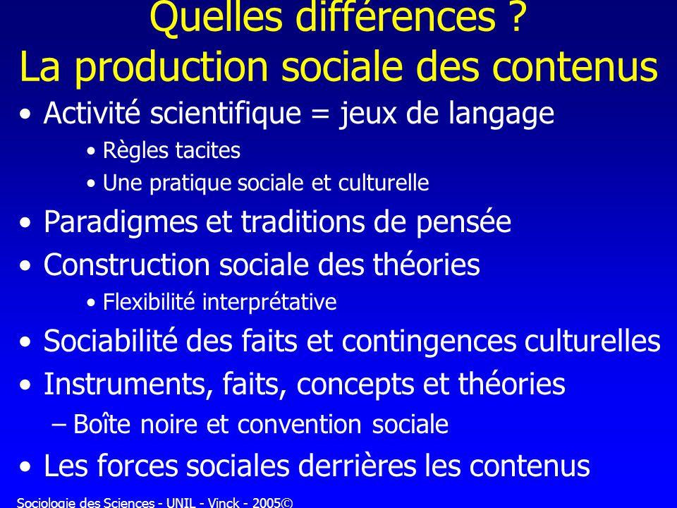 Sociologie des Sciences - UNIL - Vinck - 2005© Quelles différences ? La production sociale des contenus Activité scientifique = jeux de langage Règles