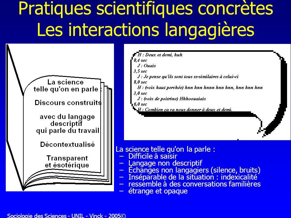 Sociologie des Sciences - UNIL - Vinck - 2005© Pratiques scientifiques concrètes Les interactions langagières La science telle qu'on la parle : –Diffi