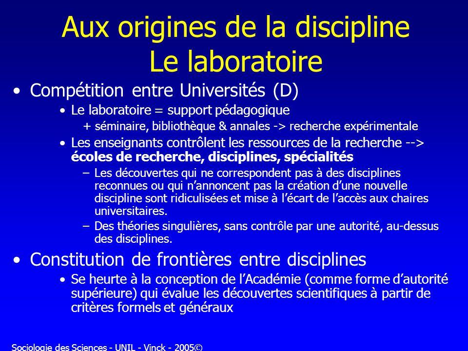 Sociologie des Sciences - UNIL - Vinck - 2005© Aux origines de la discipline Le laboratoire Compétition entre Universités (D) Le laboratoire = support