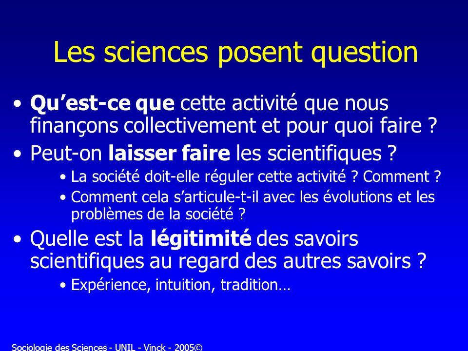 Sociologie des Sciences - UNIL - Vinck - 2005© Les sciences posent question Quest-ce que cette activité que nous finançons collectivement et pour quoi