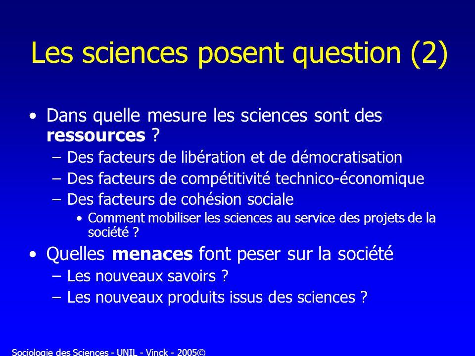 Sociologie des Sciences - UNIL - Vinck - 2005© Les sciences posent question (2) Dans quelle mesure les sciences sont des ressources ? –Des facteurs de