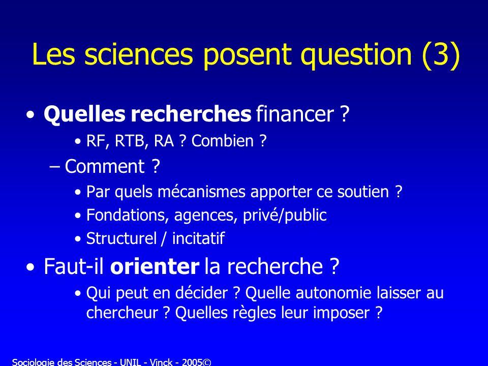 Sociologie des Sciences - UNIL - Vinck - 2005© Les sciences posent question (3) Quelles recherches financer ? RF, RTB, RA ? Combien ? –Comment ? Par q
