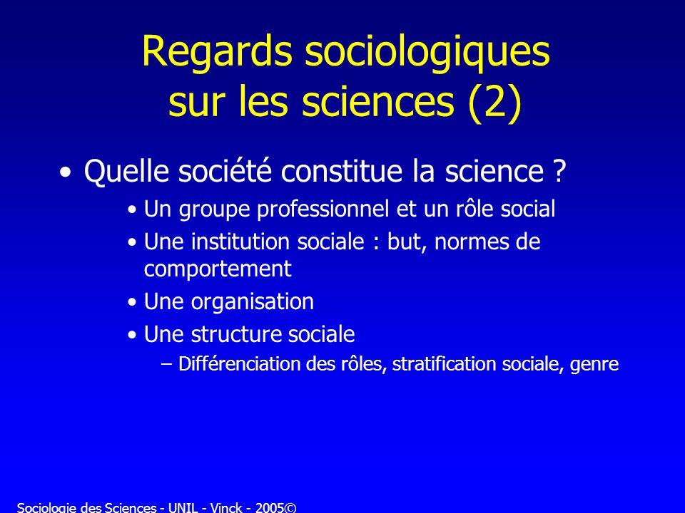 Sociologie des Sciences - UNIL - Vinck - 2005© Regards sociologiques sur les sciences (2) Quelle société constitue la science ? Un groupe professionne