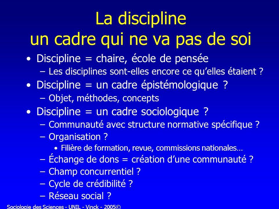 Sociologie des Sciences - UNIL - Vinck - 2005© La discipline un cadre qui ne va pas de soi Discipline = chaire, école de pensée –Les disciplines sont-