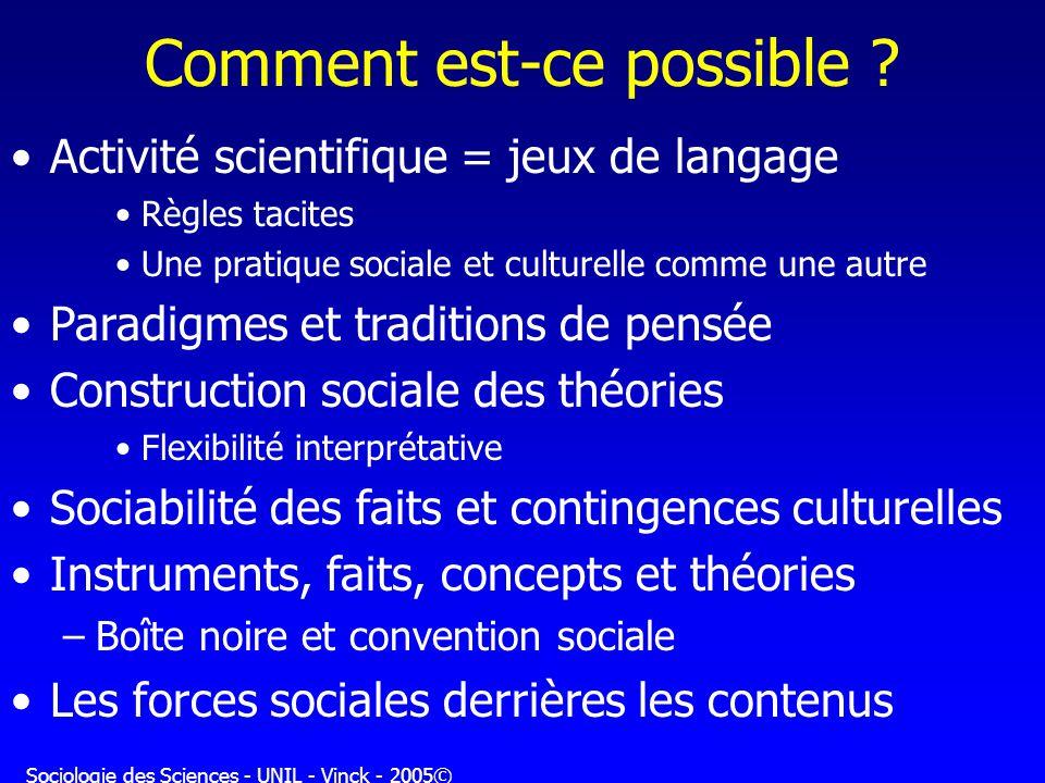 Sociologie des Sciences - UNIL - Vinck - 2005© Comment est-ce possible ? Activité scientifique = jeux de langage Règles tacites Une pratique sociale e